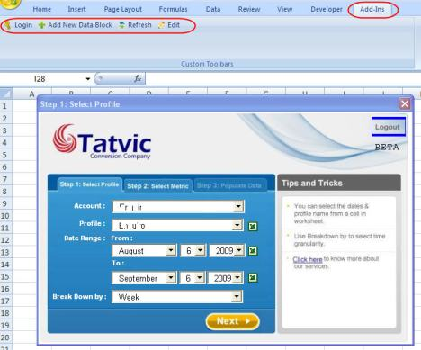 Tatvic GA Plug-in screen