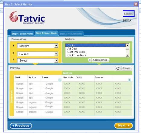 Tatvic GA Plug-in data selection screen